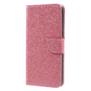 Smooth Glitter PU Leather Mobile Cover with Wallet Slots for Samsung Galaxy S8 - Pink