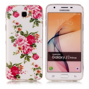 Noctilucent Patterned IMD TPU Case for Samsung Galaxy J7 Prime/On7 2016 - Blooming Peonies