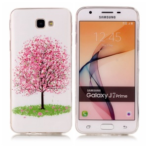 Noctilucent TPU Phone Case for Samsung Galaxy J7 Prime/On7 2016 - Pink Flower Tree