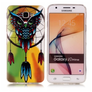Patterned TPU Noctilucent Case for Samsung J7 Prime/On7 2016 - Owl and Dream Catcher
