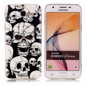Luminous Glow in the Dark IMD TPU Case for Samsung Galaxy J7 Prime/On7 2016 - Skulls