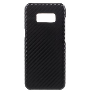Carbon Fiber Slim PU Leather Coated PC Back Case for Samsung Galaxy S8 - Black