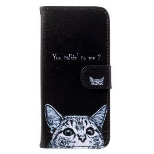 Printing Pattern Wallet Leather Cell Phone Case for Samsung Galaxy S8 G950 - Cat