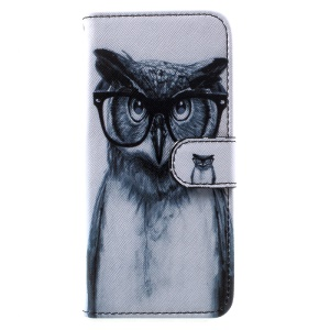 Folio Flip Leather Cover with Lanyard for Samsung Galaxy S8 G950 - Owl Wearing Glasses