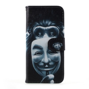 Patterned Wallet Leather Stand Case Accessory for Samsung Galaxy S8 - Masked Gorilla