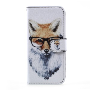 Patterned Wallet Leather Stand Mobile Cover with Strap for Samsung Galaxy S8 - Fox Wearing Glasses