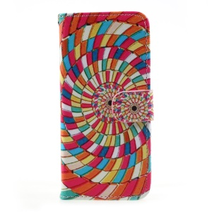 Flip PU Leather Wallet Folio Case with Stand for Samsung Galaxy S8 - Colored Swirls