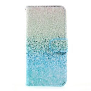 Patterned Leather Card Slots Case Stand for Samsung Galaxy S8 - Cyan Flash Powder