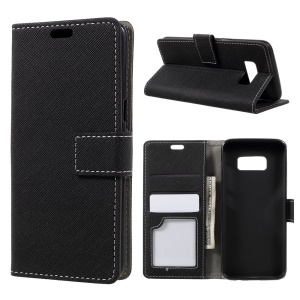 Cross Texture Stand Wallet Leather Phone Case for Samsung Galaxy S8 - Black