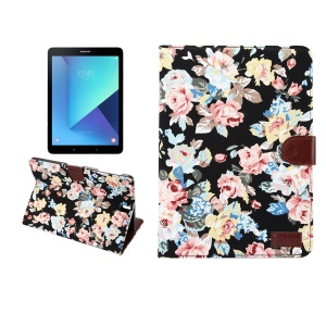 Blooming Flower Cloth Leather Smart Wallet Case for Samsung Galaxy Tab S3 9.7-inch T820 - Black