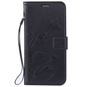 Flower Butterfly Imprinted Leather Case with Lanyard for Samsung Galaxy S7 Edge G935 - Black
