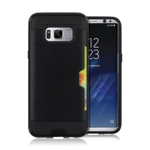 Brushed Plastic TPU Cell Phone Case with Card Slot for Samsung Galaxy S8 Plus - Black