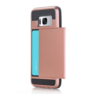 Plastic TPU Mobile Case Sliding Card Holder for Samsung Galaxy S8 - Rose Gold