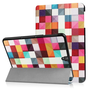 """Patterned Tri-fold Flip Leather Case for Samsung Galaxy Tab S3 9.7"""" T820 - Colorful Triangle Grid"""