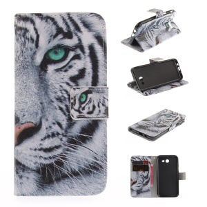 Patterned Leather Case for Samsung Galaxy J3 Emerge - Tiger with Green Eye