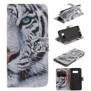 Wallet Leather Mobile Phone Case for Samsung Galaxy S8 - Tiger Pattern