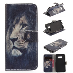 Phone Leather Stand Case for Samsung Galaxy S8 - Tiger Pattern