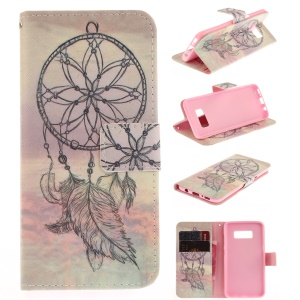 Wallet Leather Case with Stand for Samsung Galaxy S8 - Feather Dream Catcher