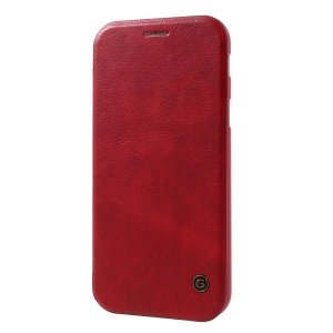 G-CASE Business Series Leather Mobile Shell with Card Slot for Samsung Galaxy A7 (2017) SM-A720F - Red