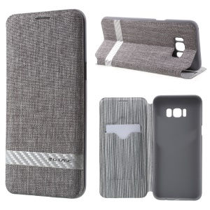 G-CASE Card Holder Canvas Leather Stand Mobile Case for Samsung Galaxy S8 Plus G955 - Grey