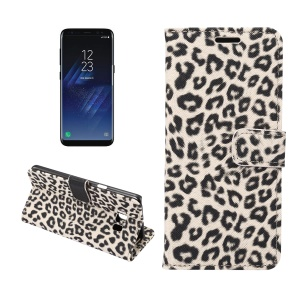 Leopard Pattern Leather Magnetic Wallet Cover for Samsung Galaxy S8 G950 - Grey