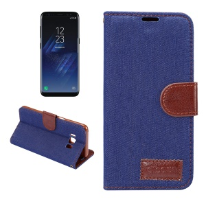 Card Slots Stand Jeans Cloth Leather Magnetic Case for Samsung Galaxy S8 - Dark Blue