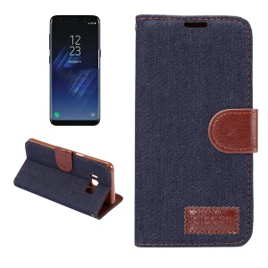 Jeans Cloth Leather Mobile Cover with Card Slots Stand for Samsung Galaxy S8 - Black Blue