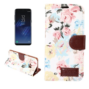 Flower Jeans Cloth Leather Magnetic Stand Case for Samsung Galaxy S8 - White