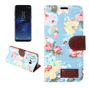 Flower Jeans Cloth Leather Card Slots Stand Cover for Samsung Galaxy S8 - Blue