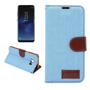 Jeans Cloth Leather Stand Card Slots Case for Samsung Galaxy S8 Plus - Baby Blue