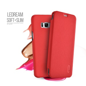 LENUO Ledream Series Flip Leather Cover for Samsung Galaxy S8 Plus G955 - Red