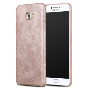 X-LEVEL Vintage Series PU Leather Coated Hard Plastic Case for Samsung Galaxy C7 Pro - Gold
