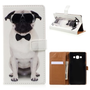 Pattern Printing Leather Wallet Stand Cellphone Case for Samsung Galaxy J3 Pro - Dog Wearing Sunglasses