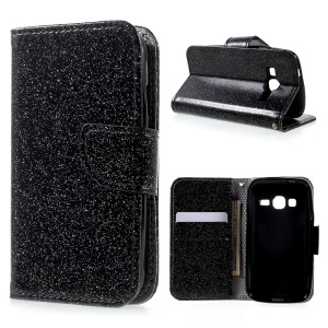 Glittery Smooth Leather Wallet Smartphone Case for Samsung Galaxy J1 mini prime - Black