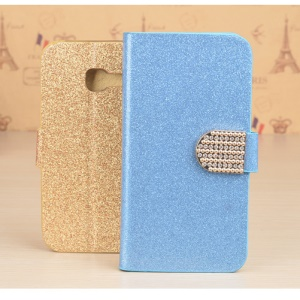 J&R Rhinestone Decor Sparkling Leather Mobile Case with Card Slot for Samsung Galaxy A3 (2017) - Blue