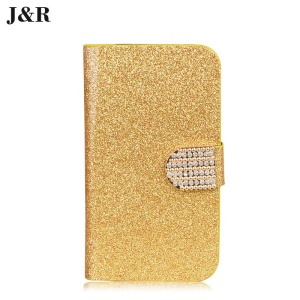 J&R Rhinestone Glittery Leather Stand Case with Card Holder for Samsung A5 (2017) SM-A520F - Gold