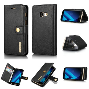 DG.MING for Samsung Galaxy A3 (2017) Detachable 2 in 1 Wallet Split Leather Case Accessory - Black