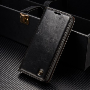 CASEME Oil Wax Leather Magnetic Wallet Stand Shell for Samsung Galaxy S8 Plus - Black