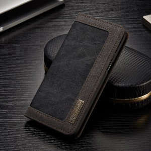 CASEME Canvas Skin Leather Wallet Phone Case for Samsung Galaxy S8 G950 - Black