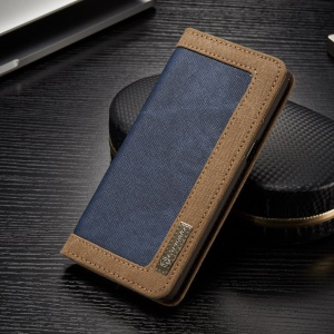 CASEME Canvas Leather Wallet Magnetic Case for Samsung Galaxy S8 G950 - Blue