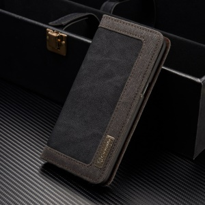 CASEME Canvas Leather Wallet Phone Case for Samsung Galaxy S8 Plus G955 - Black