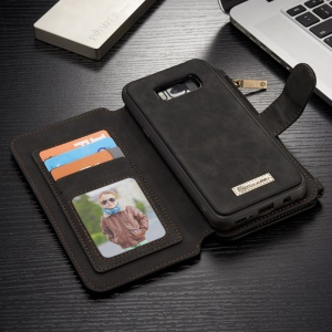 CASEME 2-dentro-1 Split Leather Multi-Caixa de telefone Wallet para Samsung Galaxy S8 - negro