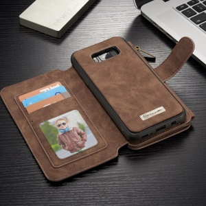 CASEME 2-in-1 Split Leather Multi-slot Wallet Shell for Samsung Galaxy S8 - Brown