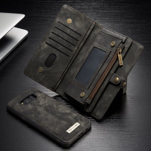 CASEME Movable 2-in-1 Multi-slot Wallet Vintage Split Leather Case for Samsung Galaxy S8 G950 - Grey