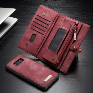 CASEME for Samsung Galaxy S8 G950 Multi-slot Wallet 2-in-1 Vintage Split Leather Mobile Case - Red
