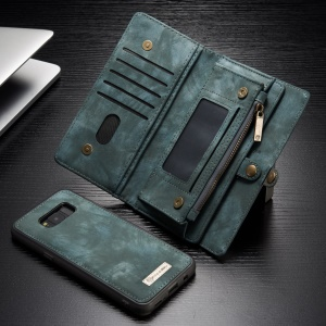 CASEME 2-in-1 Many-slot Wallet Vintage Split Leather Phone Cover for Samsung Galaxy S8 G950 - Blue