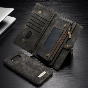 CASEME Multifunctional Wallet Split Housse en cuir pour Samsung Galaxy S8 Plus G955 - Gris