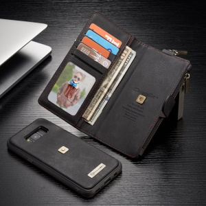 CASEME Detachable 2-in-1 Metal Clip Retro Split Leather Wallet Phone Case for Samsung Galaxy S8 - Black