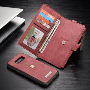 CASEME Detachable 2-in-1 Metal Clip Retro Split Leather Wallet Cover for Samsung Galaxy S8 - Red