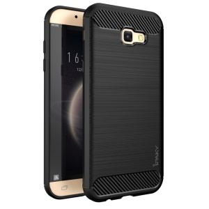 IPAKY Carbon Fiber Decorated Brushed TPU Mobile Case for Samsung Galaxy A5 (2017) A520 - Black